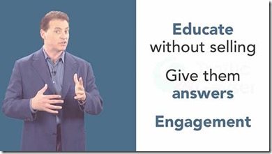 Educate without selling. Give them answers. Engagement!